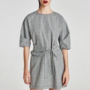 NWT Zara Checked Dress with Sash Belt